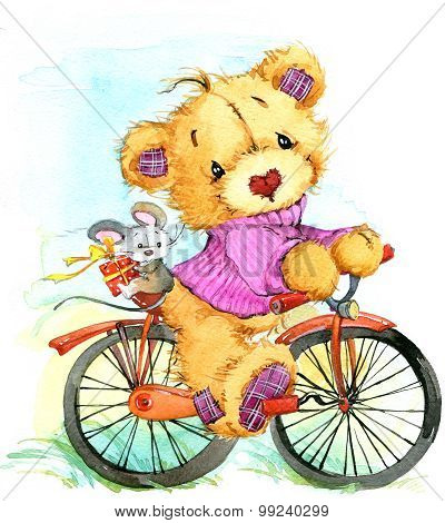 Teddy bear travel and  bicycle. watercolor illustration