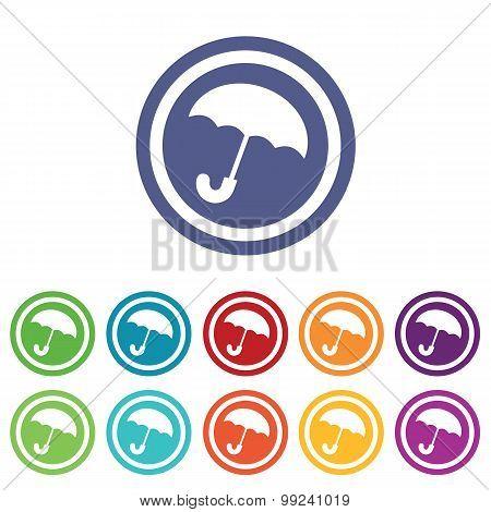 Umbrella signs colored set
