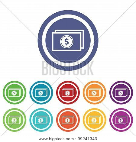 Dollar banknote signs colored set