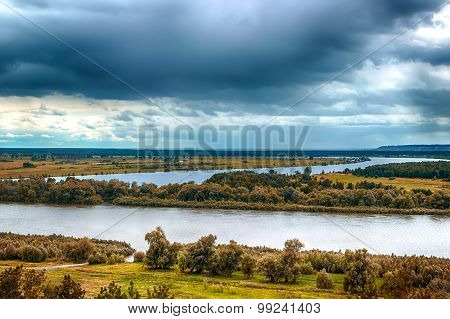 Irtysh River Landscape View From Top Russia Siberia