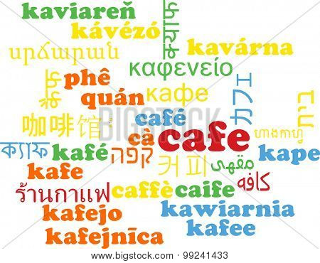 Background concept wordcloud multilanguage international many language illustration of cafe