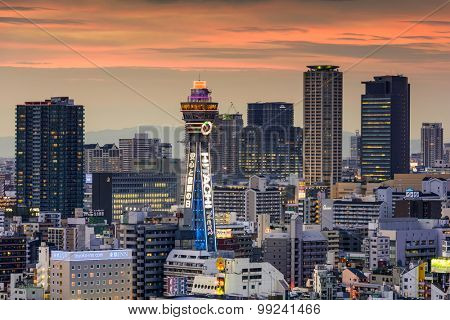 OSAKA, JAPAN - AUGUST 17, 2015: Tsutenkaku tower in the Shinsekai district. The current tower is the second to occupy the site after the first was destroyed by fire in 1943.