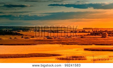 Landscape Sunset River Meadows Field Forest Hills Lit By Orange Color
