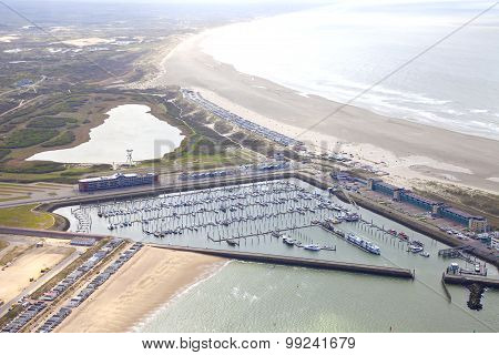Aerial View Of Yacht Harbor With Beach Of Ijmuiden, The Netherlands