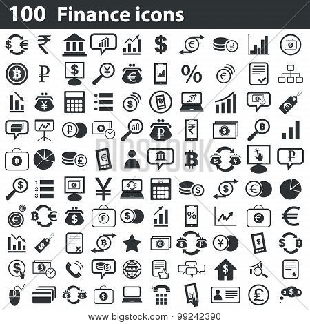 100 finance icons set