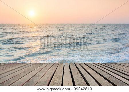 Beach Scene With Wooden Floor