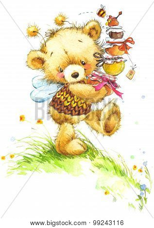 Teddy bear and flower background. watercolor illustration