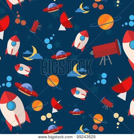 space pattern planet rocket on a blue background children.