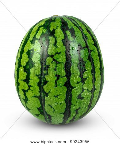 Fresh Whole Green Watermelon. isolated on white background.