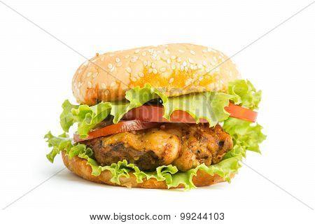 Classic Big Hamburger Isolate