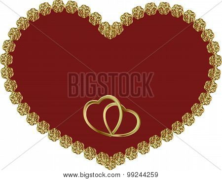 Red Heart In A Gold Frame