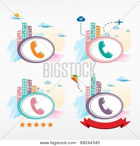 Telephone Receiver Vector Icon City Background.