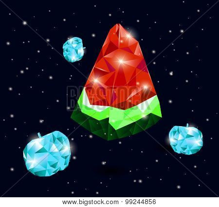 watermelon space and apple glass