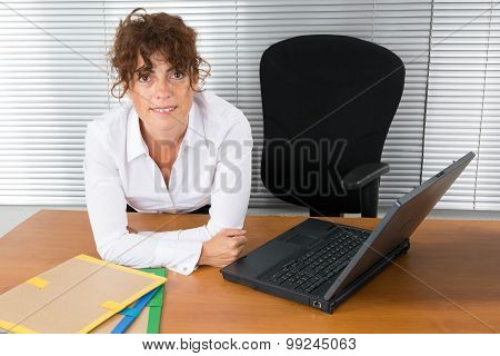 Happy Beautiful Woman Using Laptop, Indoors