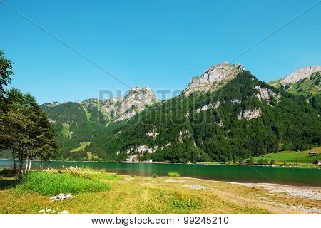 Beautiful summer Alpine mountain lake