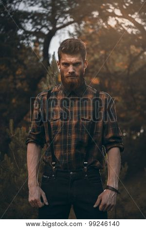 Brutal Bearded Man In Forest Outdoor