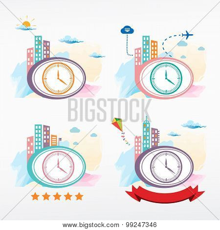Clock Vector Icon On City Background.