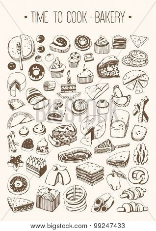 Hand drawn set Time to cook - Bakery
