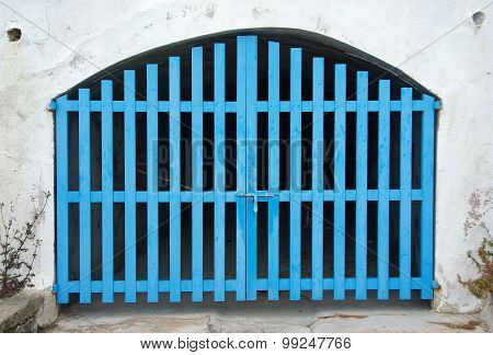 Old Cyan Wooden Door