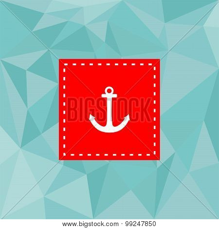 Nautical vector card with anchor and mint green pastel flat surface background