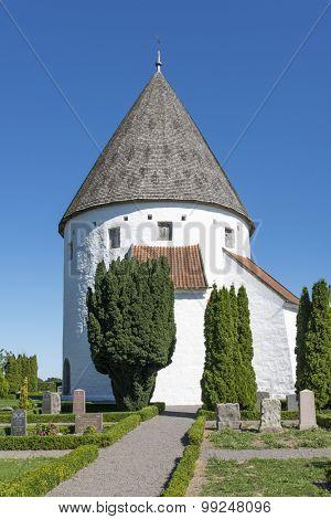 The Ols Kirke in Olsker, Bornholm island, Denmark.