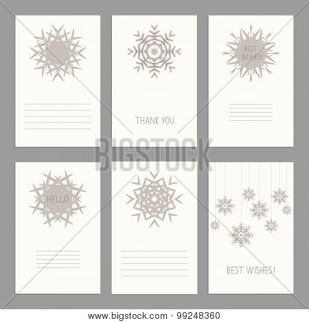 Vector Set Of Vintage Cards  Templates Editable.template For Scrapbooking, Diary, Notebooks. Wedding