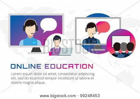 Online education vector illustration. Webinar, school