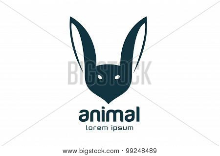 Abstract animal face logo vector template. Rabbit, bat mascot