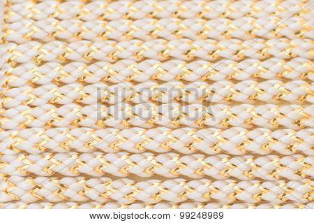 Golden White Fiber Rope Pattern Close Up