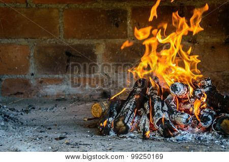 Open Air Oven Fireplace With Fire Burning