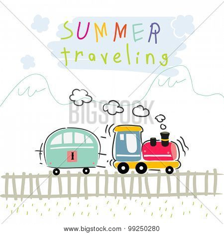 Summer vacation train travel, kids vector illustration.