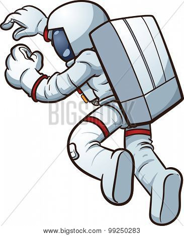 Cartoon astronaut. Vector clip art illustration with simple gradients. All in a single layer.