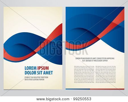 Vector blue and red business brochure, flyer template. Modern corporate design.