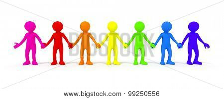 The diversity symbolized with some colored people