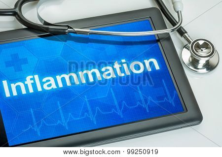 Tablet With The Diagnosis Inflammation On The Display
