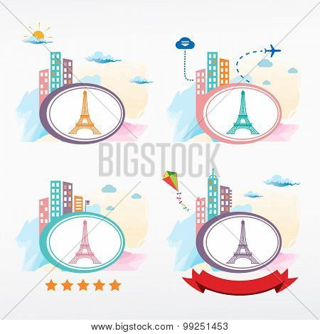 Eiffel Tower In Paris, France Icon City Background.