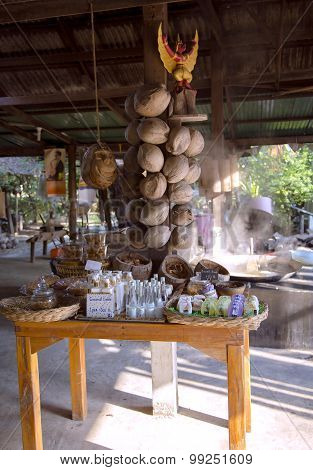 Shops with wares from coconut oil