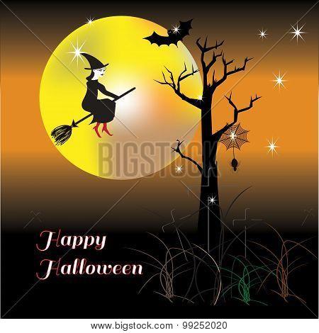 Happy Halloween Night Wiht Happy Witch