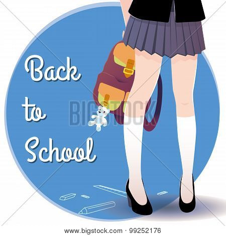 Japanese schoolgirl legs with bag and lettering Back to school.