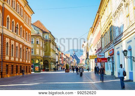 Pedestrian Republicii Street  At Downtown Of Brasov, Romania.