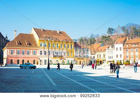 Council Square Or Piata Sfatului In Downtown Of Brasov, Romania.