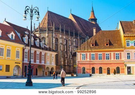 Council Square, Piata Sfatului And Black Church In Downtown Of Brasov, Romania