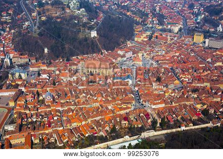 Aerial View Of The Old Town, Brasov, Romania