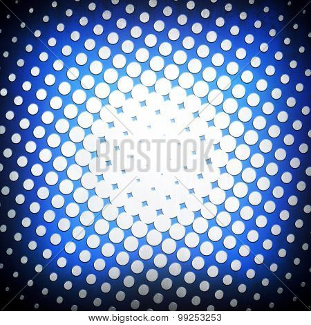 blue metal background with halftone design