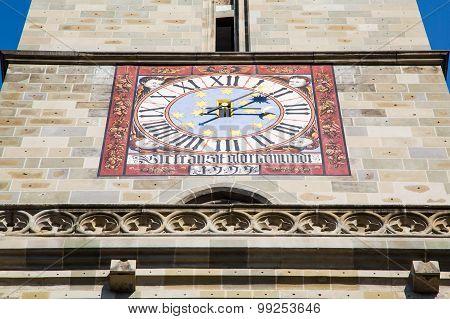 Old clock at Black Church - Biserica Neagra in Brasov, Romania