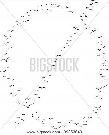 Bird Formation In Minuscule O