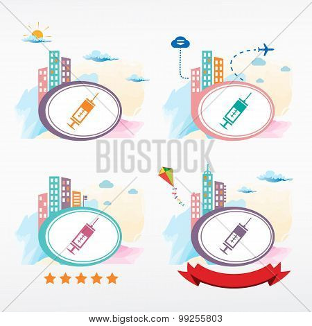 Medical Syringe With Vaccine On City Background.