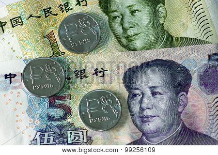 Russian rubles and yuan banknotes