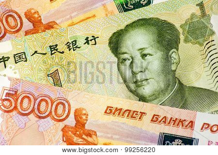 rubles and yuan banknotes