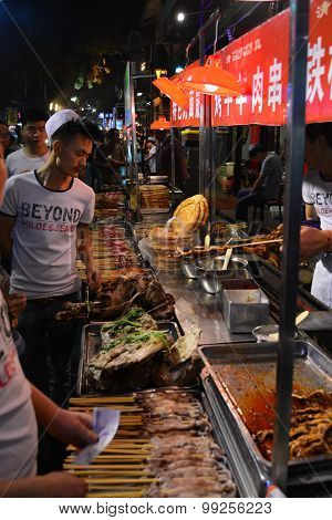 food stall at xian china muslim quarter